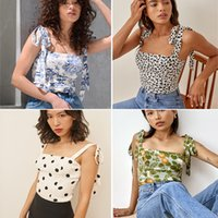 Chic Floral Camisole Womens 2021 Summer Outer Wear Lightly Mature Chiffon Bow Bandage Vest