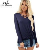 Bella-Forever Women Winter Donne Pure Color Bandage Casual T-Shirt Shift Shift Seaze femminile Top Top T057 210419