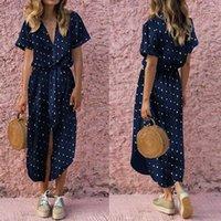 Dot Print Летнее платье Женщины Повседневная Навигация с короткими рукавами V-образным вырезом Элегантное платье 2020 Новый Модный Сексуальный пляж Прямые MIDI Платья