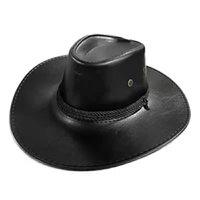 PU leather cowboy hat men's summer outdoor gentleman's hat J0603