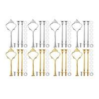 Backengebäckwerkzeuge 8 Sätze 3 Tierkrone Kuchenplatte Ständer Armaturen Hardware Halter Küche Gadgets für Hochzeit und Party - SilverGolden