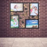 Decorative 4 Opening Wall Hanging Po Frame With Flowers And Vintage Collage Family Picture Frame(Black) Frames