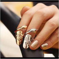 Band Commercio all'ingrosso squisito simpatico retrò regina dragonfly design rhinestone prugna snake snake ring finger nail anelli 2RF7R QJFTV
