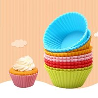 Cake Tools 12PCs Random 6 Colors 7cm Muffin Silicone Mold Bakeware Cupcake Liners Baking Decorating
