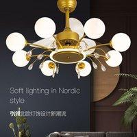 Gold Black LED Ventilatori a soffitto Lampadario di cristallo leggero per soggiorno Nordic with Blades Indoor Illuminazione di apparecchi per illuminazione 32inch