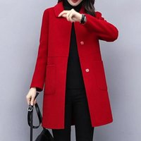 Women's Wool & Blends 2021 Women Autumn Winter Fashion Woolen Coats Female Stylish Single Breasetd Thick Outwear Ladies Pockes Long Jackets