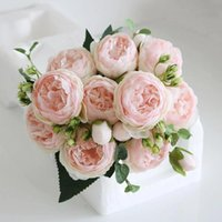 Decorative Flowers & Wreaths Whisper Tea Rose Simulation Flower Silk Bouquet Peony Artificial Bride Wedding Home Fake Backdrop Decoration