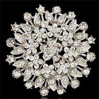 Broche de cristal de fleur de grande alliage pour la fête de mariage Arrivée usine directe Prix bon marché Broche