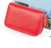 Unisex Leather ID Credit Card holder double zipper wallet cowhide card holder wallet Clutch Purse Coin Storage Bags HWD7404