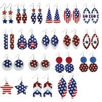 PU-Leder Unabhängigkeitstag Baumeln Kronleuchter Ohrringe Amerikanische gedruckte Flagge Pentagram Wassertropfen Multilayer Charme 18 Arten 1285 Q2