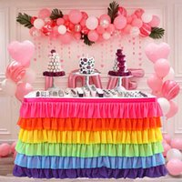 Tulle Tutu Patchwork Table Skirt Tablecloth 6 Tiers Color Tableware Wedding Birthday Baby Shower Party Decoration
