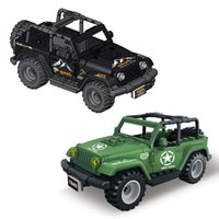 Black Green Jeep Modelo Kit Wrangler City City Recreação Veículo Off Road Truck Truck Blocks Brinquedo Brinquedo Para Menino