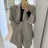 Women's Shorts New Oversize Solid Girls Blazer Women Suit long Sleeves Tops High Waist Wide Leg Trousers Two Piece Suits 7442