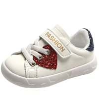 First Walkers 11.5-15.5cm Autumn Boys Girls Sneakers Size 3 4 5 6 8,Toddler Bling Heart Baby Sports Shoes,Soft Sole White Infant