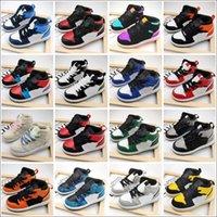 Jumpman 1 Kids Basketball Sapatos Sneakers Meninas Meninas Banned 1s Tecelando Sneaker Juventude Crianças Esportes Atléticos Trainers Exterior EUR 26-35