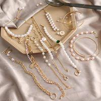 Link, Chain Elegant Vintage Baroque Imitation Pearl Bracelet For Women Girls Gold Color Rhinestone Bracelets Bangles Jewelry