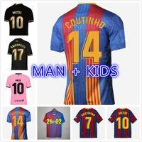 كرة القدم جيرسي برشلونة 20 21 كاميسيتا دي فوتبول أنسو فتي 2020 2021 ميسي جريزمان F.de جونغ مايلوتس كرة القدم قميص الرجال الاطفال كيت