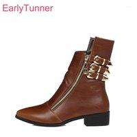 Stiefel marke qualität sexy braun schwarz frauen knöchel vogue chunky niedrige heels dame reiten schuhe eH018 plus große größe 10 43 451