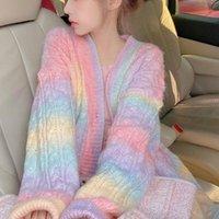 Women's Jackets Rainbow Knitted Cardigan Women Autumn Winter Sweet Kawaii Sweater Coat Female Long Korean Button Down Fall 2021