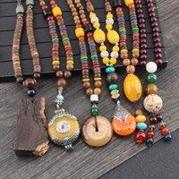 Vintage Ethnic Style Lotus Ox Horn En Bois Pendants Perles Perles Colliers Déclaration Népal Collier Népal Femmes Hommes Bijoux Pendentif