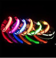 LED Nylon Haustier Hundehalsband Nacht Sicherheit LED-Licht blinkend Glühen im dunklen kleinen Hund Haustierleine Hundehalsband blinkende Sicherheitskragen DHC7626