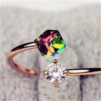 Gold Color Adjustable Ring Fashion Simple Colorful Cube Zircon Crystal Finger Ring for Women Engagement Jewelry 456 Q2