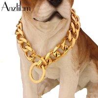 19 ملليمتر عالية الجودة لون الذهب كلب كوبي ربط سلسلة قلادة قوي 316L الفولاذ المقاوم للصدأ روابط معدنية سلاسل طوق التدريب