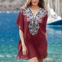 Повседневные платья женщины пляж Sarong V-образным вырезом купальник солнцезащитный крем кружевной свободной блузкой напечатанный юбка прикрытие одежды Boho платье одежды