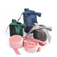 Bolsas de joyería, bolsas Premium Velvet Anillo redondo Collar de almacenamiento Caja de regalo de almacenamiento con elegante nudo de seda para propuesta compromiso cumpleaños de boda