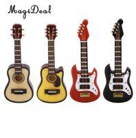 Magideal 4 ألوان 1:12 دمية مصغرة الغيتار الكهربائية أداة للأطفال تعلم التعليمية الموسيقية لعبة ديكور المنزل