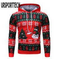 Ursporttech 추악한 크리스마스 스웨터 남성 여성 3D 인쇄 재미 있은 크리스마스 풀 오버 남자 후드 스웨터 봄 가을 남자 스웨터 210528
