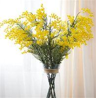 Falso wattle / acacia mimosa spray 85 cm garland fiore artificiale decorazione della casa pianta giallo o bianco colore 462 v2
