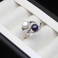 Свадьба настоящий натуральный пресноводный белый черный двойной жемчужный кольцо BOHO лист 925 стерлинговые серебряные кольца для женщин