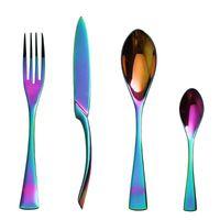 Dinnerware Sets Lekoch 4Pcs 304Stainless Steel Rainbow Cutlery Set Tableware Silverware Dinner Knife And Fork Table Wedding