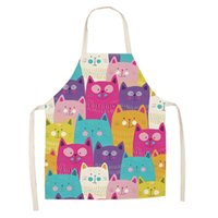 Aprons Kitchen Apron Cute Cartoon Cat Printed Sleeveless Cotton Linen For Men Women Home Cleaning Tools Baking Accessories