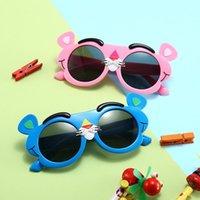 2020 جديد الأطفال سيليكون الاستقطاب النظارات الشمسية أزياء شخصية الكرتون الوردي ليوبارد لطيف الفتيان والفتيات النظارات