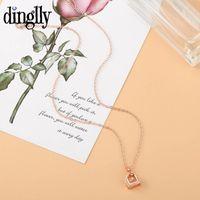 Pendant Necklaces Korea Rose Gold CZ Handbag Necklace For Women Girls Original Shaking Shiny Crystal Charm Girlfriend Gift