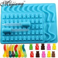 Baking Moulds Mujiang 50 Cavity Bear Silicone Gummy Chocolate Sugar Candy Jelly Molds Snake Worms Ice Tube Tray Mold Cake Decorating Tools