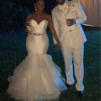 Sweetheart African Wedding Dresses 2022 Sweep Train Plus Size Bridal Gown with Crystal Sash