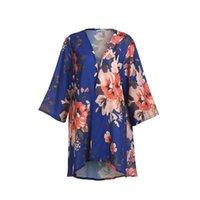 Женщины Летние Кимоно Распечатать Цветочные блузки Свободные Типы Хлопок Кимонос Регулярная Печатная Мода Кардиган Одежда Женщин Рубашки