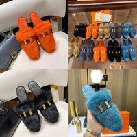 2021 Diseñador de lanas Top Mink Zapatos de pelo Desiner Invierno Zapatillas de felpa HOTEL INTERIOR HOTEL CALIENTE Sandalias de piel de zorro para mujeres Diapositivas Calidad con caja Tamaño 34-40