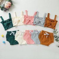 Clothing Sets 0-24M Casual Born Baby Girl Solid Color Bow Camis Tops Bloomers Shorts 2PCS Outfits Summer Clothes Set