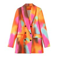 Fandy Lokar Shawl Collar Blazers Women Fashion Double Breasted Jackets Elegant Orange Pink Printed Suits Female Ladies GP Women's &
