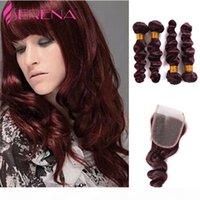 Bourgogne péruvienne lâche vague 4 paquets Bourgogne Human Hair Weave Bundles Rouge Vin 99J Vierge Hair avec 4x4 Fermeture en dentelle 5pcs Lot