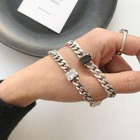 MLECHENLY 925 Стерлинговая серебряная серебристая цепь Старинный огорченный черный агат плоский браслет для женщин модных аксессуаров