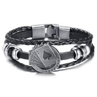 Retro Personality Multilayer Handmade Braided Leather Bracelet Men Straight Flush Playing Cards Black Charm Link, Chain