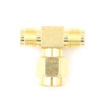 Wholesale BNC RF COAXIAL COAX ADAPTADOR 3 VÍA TRIPLE T Conector RP-SMA Macho a 2