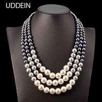 Declaração étnica de Uddein para mulheres multi camada simulada pérola bib brie maxi colar jóias de contas africanas