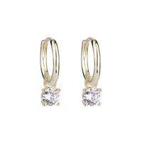 Yoursfs Fashion Femmes Bijoux 18K Gold Plated Four Prong Zircon Hoop Boucles d'oreilles