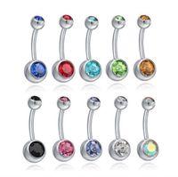 الجرس مجوهرات مجوهرات الفولاذ المقاوم للصدأ البطن زر حلقات السرة كريستال حجر الراين ثقب البارات النساء أزياء الجسم إسقاط التسليم 2021 ن